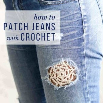 How to patch jeans with crochet tutorial