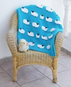 blue sheep blanket pattern knitting