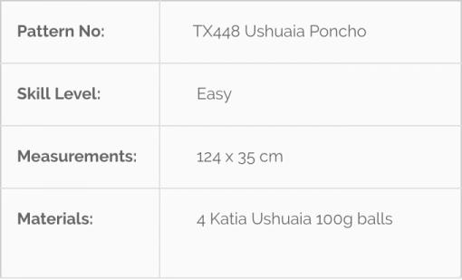 TX448 Ushuaia Poncho Knitting Pattern Chart