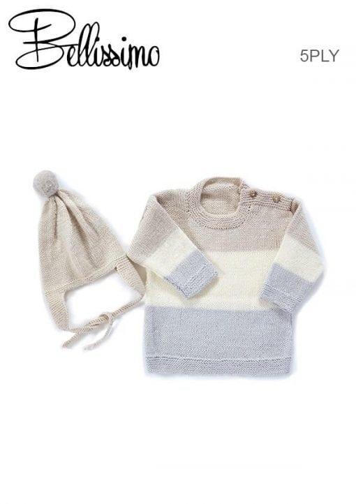 TX347 Bellissimo 5 Baby Stripe Sweater & Aviator Hat TX347 BELLISSIMO 5 BABY STRIPE SWEATER & AVIATOR HAT knitting Pattern