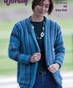 Wendy Aurora Double Knit 8ply acrylic pattern 6046 women's sideways knit cardigan
