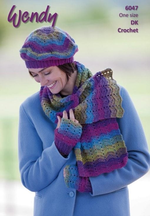 Wendy Aurora Double Knit 8ply acrylic pattern crochet scarf beret & mitts