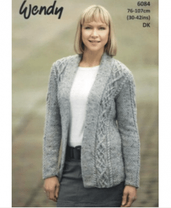 Wendy Harris Double Knit Ladys knitting pattern 6084 knot chain cardigan