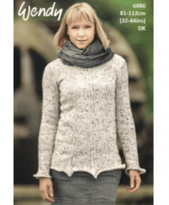 Wendy Harris Double Knit Ladys knitting pattern 6086 column jumper