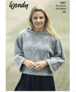 Wendy Harris Double Knit Ladys knitting pattern chevron jumper 6081
