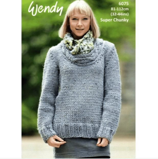 Harris Super Chunky Ladys Cuffed Sweater 6075 Adult Knitting Pattern
