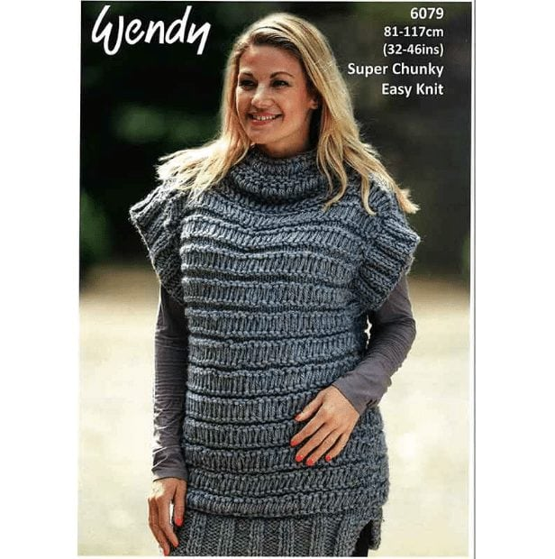 Harris Super Chunky Ladys Deco Vest 6079 Adult Knitting Pattern
