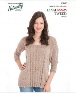 Naturally loyal vegas tweed women's knitting pattern N1387 Panelled sweater