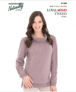 Naturally loyal vegas tweed women's knitting pattern N1388 Outlined Sweater