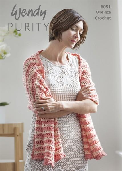 Wendy Purity Patterned Shawl 6051 | Crochet Pattern
