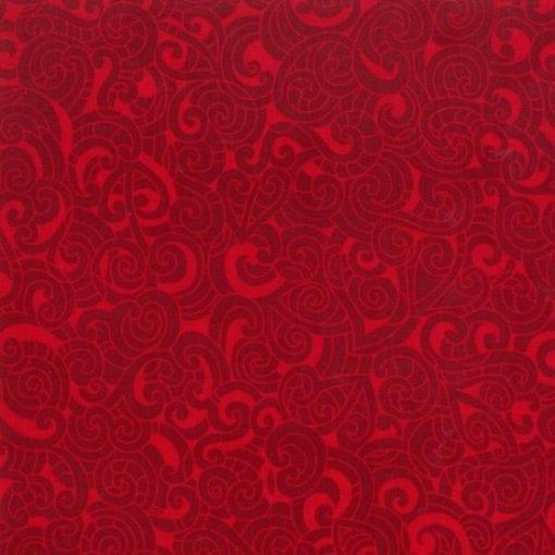 #85200 MOKO MOKO COL. 109 SCARLET Nutex kiwiana quilting fabric