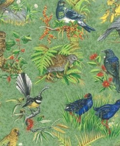 89400 Chatter Birds Kiwi Fabric New Zealand