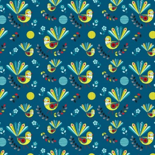 #89590 FOREST SONG FOREST SONG COL. 106 FANTAILS Nutex kiwiana quilting fabric