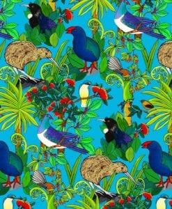 Nutex Kiwiana quilting fabric #89820 FLORA & FAUNA FLORA & FAUNA COL. 101 BLUE